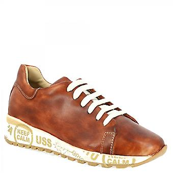 Leonardo Shoes Women's handmade Keep Calm sneakers shoes in brown calf leather