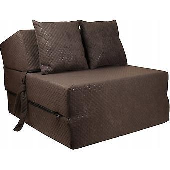 Materasso letto di lusso - marrone - materasso da campeggio - materasso da viaggio - materasso pieghevole - 200 x 70 x 15 - con cuscini
