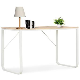 Tietokonepöytä valkoinen ja tammi 120x60x73 cm
