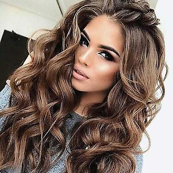 Women Natural Long Brown Wigs Wavy Synthetic Hair Wig Party