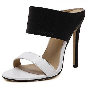 Damen Sandale Mit Absatz Offene Zehen(38)(Weiß)