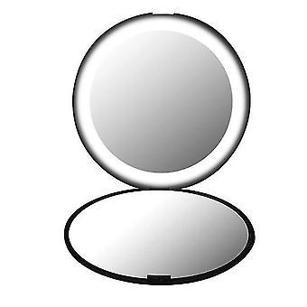 Mini luci portatili led specchio per il trucco 10x ingrandire la mano pieghevole 12 led tasca specchio per il trucco