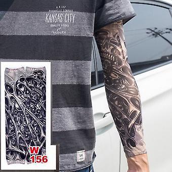 Faux temporaires Manches de tatouage Tatouages Full Long Slip On Arm Tattoo Sleeve Kit Hommes Elastic Nylon Gant Tatouages Crâne Noir Design