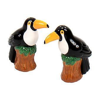 Black Toucan Birds Salt and Pepper Shakers Set Ceramic
