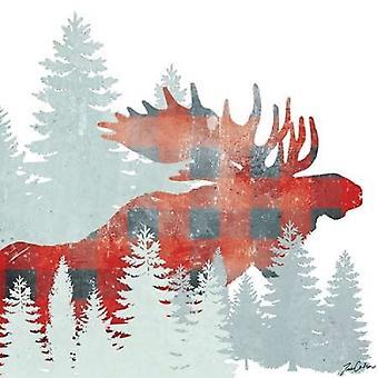 Печать плаката лося плед лес Тина Карлсон