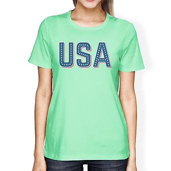 USA With Stars Womens Cute Graphic T-Shirt Unique Gift Idea For Her