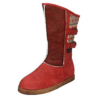 Girls Spot On Buckle Strap Boots With Fleece Trim H4084