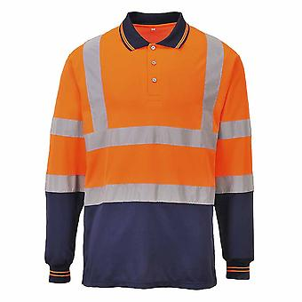 sUw - Two-Tone Long Sleeved Hi-Vis Safety Workwear Polo Shirt