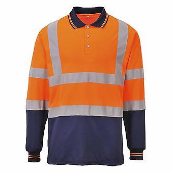 sUw - zweifarbige langen Ärmeln Hi-Vis Sicherheit Workwear Poloshirt