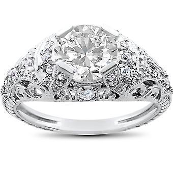 Jahrgang verbesserte Diamant Verlobungsring 1 1 / 5ct-14 K White Gold