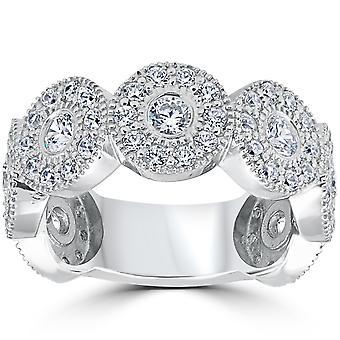 1 1 / 2ct Diamond Vintage Halo Bezel 3/4 eeuwigheid trouwring 14k witgoud