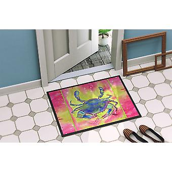 Bright Pink and Blue Crab  Indoor or Outdoor Mat 18x27 8343 Doormat