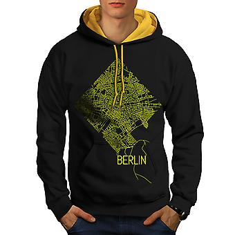 Berlin City Map Fashion Men Black (Gold Hood)Contrast Hoodie | Wellcoda