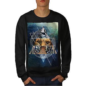 虎ライオン猫ファッション男性 BlackSweatshirt |Wellcoda