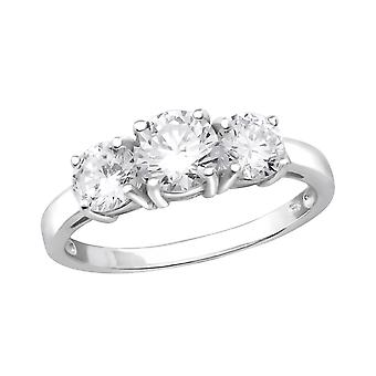 Round - 925 Sterling Silver Cubic Zirconia Rings - W27276X