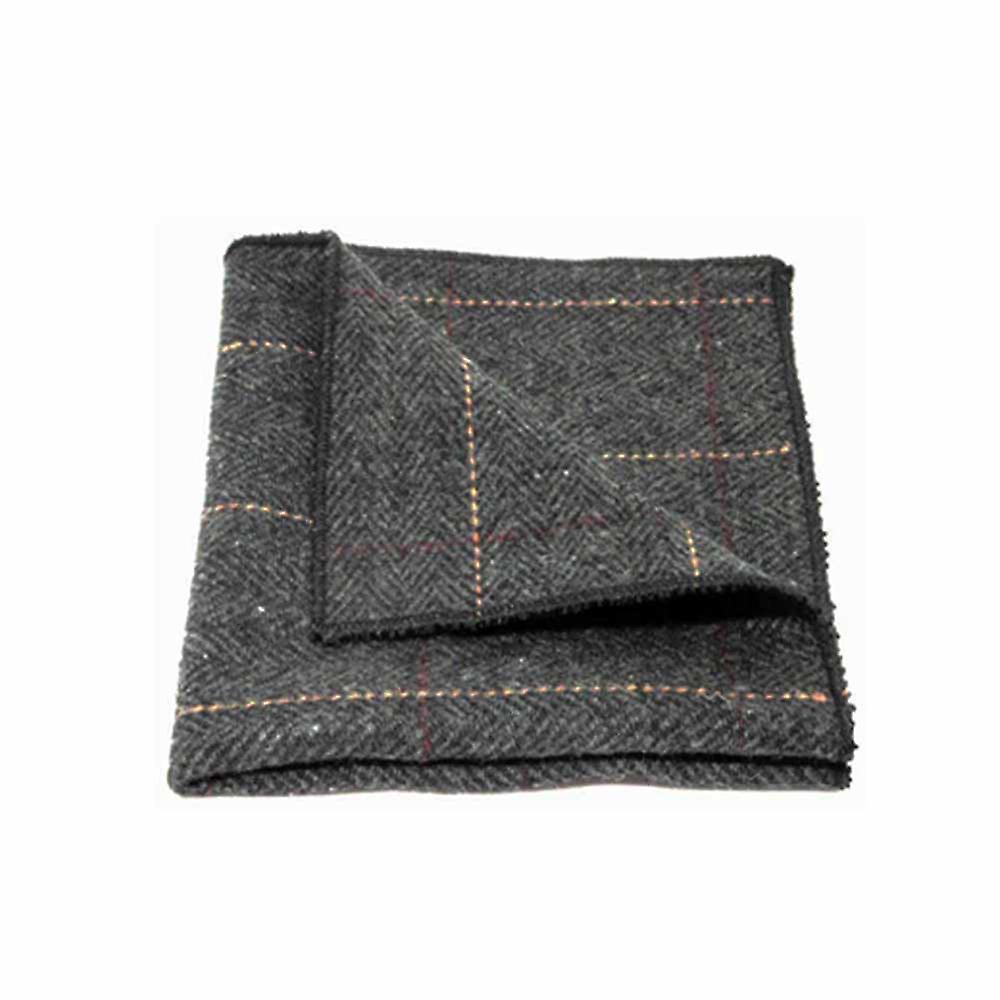 Luxury Herringbone Charcoal Grey Tweed Men's Tie & Pocket Square Set