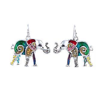 """بارور: قلادة وأقراط """"الفيل متعدد الألوان"""""""