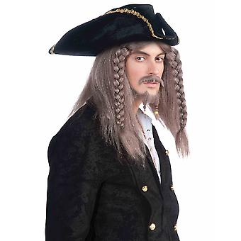 Pirate Captain Cutthroat Jack Sparrow Grey Brown Men Costume Wig