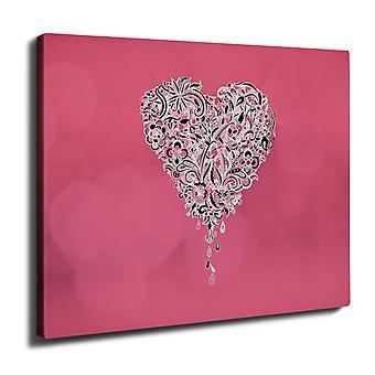 Rakkaus sydän seinän taide kankaalle 40 cm x 30 cm | Wellcoda