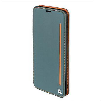Flip Tasche für Samsung Galaxy S8+ G955 G955F Hülle Case Etui blaugrau orange