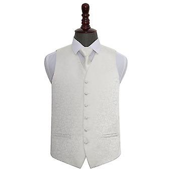 Avorio Swirl matrimonio Waistcoat & Set di cravatte