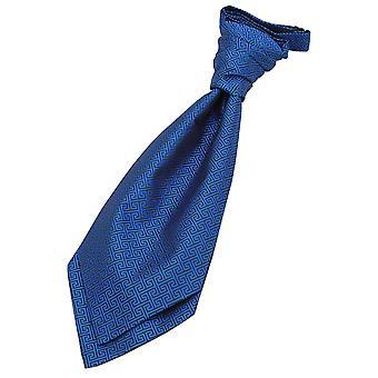 Royal Blue Greek Key Pre-Tied Wedding Cravat for Boys