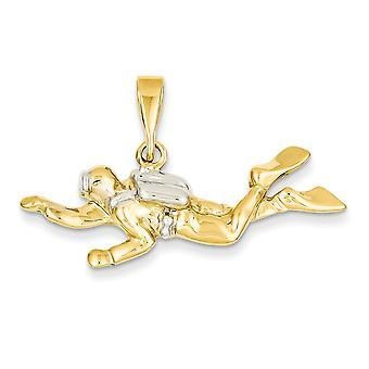 retro bicolore solido aperto a 14 k Gold Polished Open-Backed Scuba Diver pedante ciondolo - misure 24x40mm