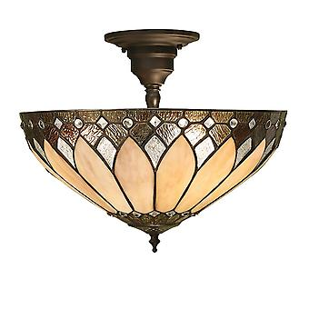 Interiors 1900 Brooklyn 3 Light Semi Flush Ceiling Fit
