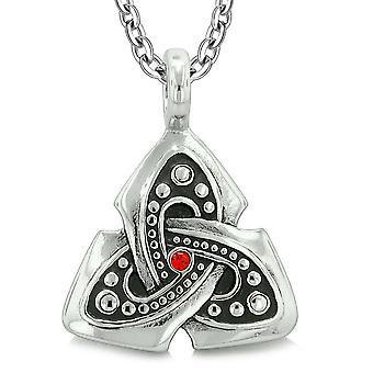 Gamle Viking keltiske Triquetra knude Amulet beskyttelse beføjelser Royal rød krystal vedhæng halskæde