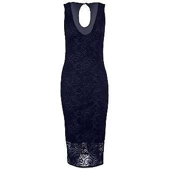 Mesdames plonger sans manches V cou Glitter superposition de dentelle doublé robe Bodycon Midi
