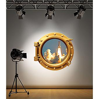 Full Colour Brass Porthole Space Shuttle Wall Sticker
