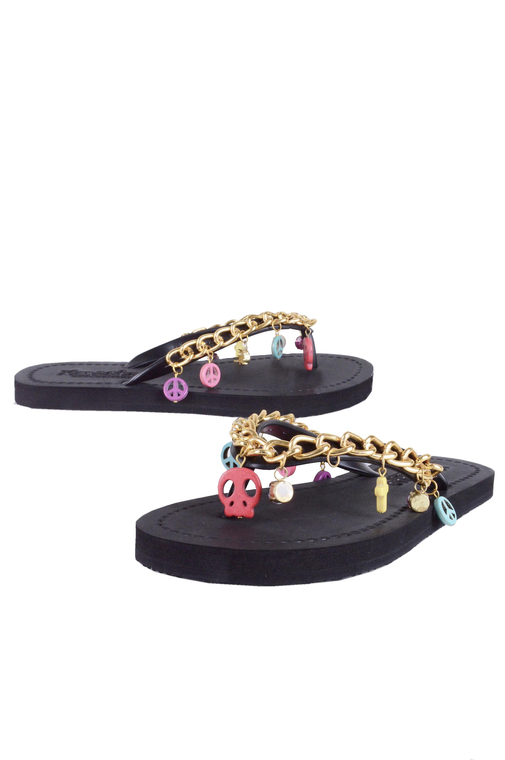 Lovemystyle Black Flip Flops With Gold Chain And Charm Strap