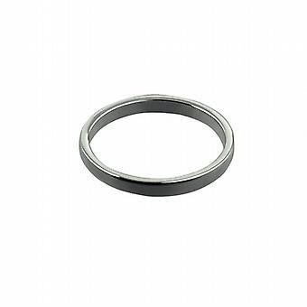 9kt hvidguld 2mm almindelig flat Wedding Ring størrelse Pedersen