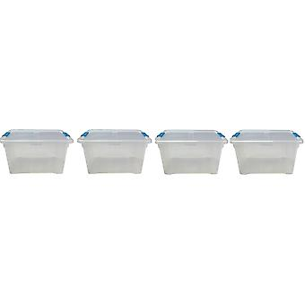 4 x 32 Litre Storage Box And Lid With Clips Storage Furniture