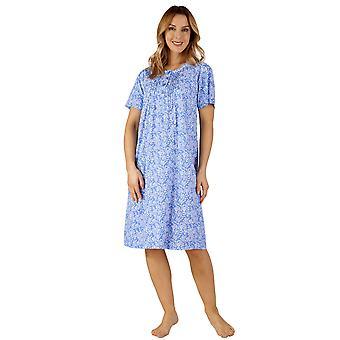 Slenderella ND3131 kvinnors bomull Jersey blommig natt klänning Loungewear nattlinne