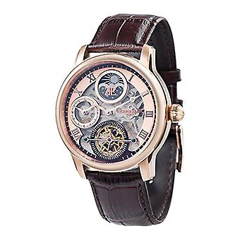 Thomas Earnhshaw Longitude Shadow ES-8063-02 wrist watch with pink gold skeleton dial and brown leather strap