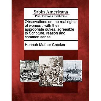 Observations on the real rights of women  with their appropriate duties agreeable to Scripture reason and common sense. by Crocker & Hannah Mather