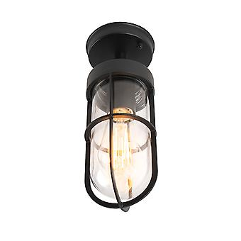 QAZQA Country exterior ceiling lamp black with glass IP44 - Elza