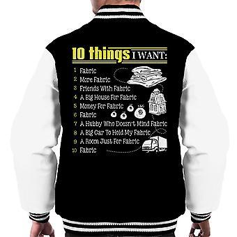 10 saker jag vill ha tyg mäns Varsity jacka