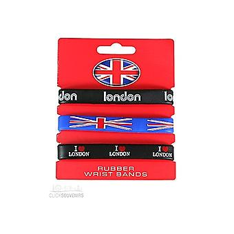 Union Jack Wear Set Of 3 London Union Jack Silicone Wristbands