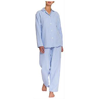 British Boxers Westwood Stripe Two Fold Flannel Pyjamas - Blue