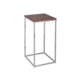 Gillmore Walnut And Silver Metal Contemporary Square Lamp Table