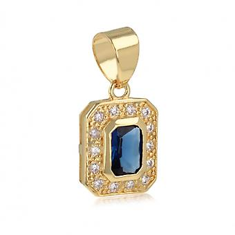 Gold Plated Pendant Rectangular Sapphire Synthetic And Cubic Zirconia