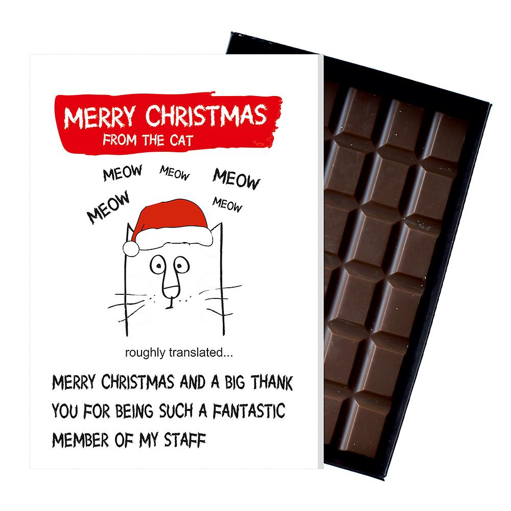 Funny Christmas Gift From The Cat Boxed Chocolate Greeting Card Present for Men Women OD136