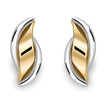 Jewelco Londres 9ct 2 colores oro Hugger cinta onda gota pendientes