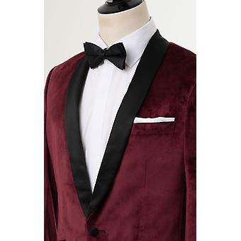 Dobell mens Bourgondië Velvet 2 stuk Tuxedo slim fit contrast sjaal revers