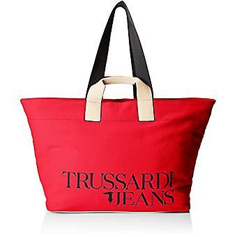 Trussardi jeans med kärlek sön Tote XL canvas mångfärgade Women ' s Bag (Fuchsia/beige/röd) 41x33x18 cm (b x H x L)