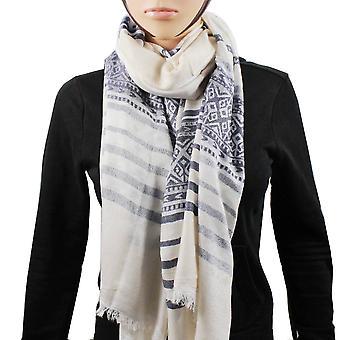 Pashmina 100% lenço listra branco azul