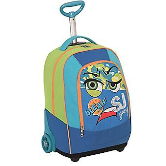 BIG TROLLEY FACCE FROM SJ - 2in1 - Backpack with retractable shoulder pads - Blue Green 31Lt
