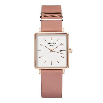 Rosefield QOPRG-Q026 Watch - Bo tier m tal gold dor rose white dial with pink leather strap dator or women's rings